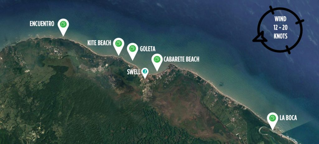 cabarete kitesurf spot map
