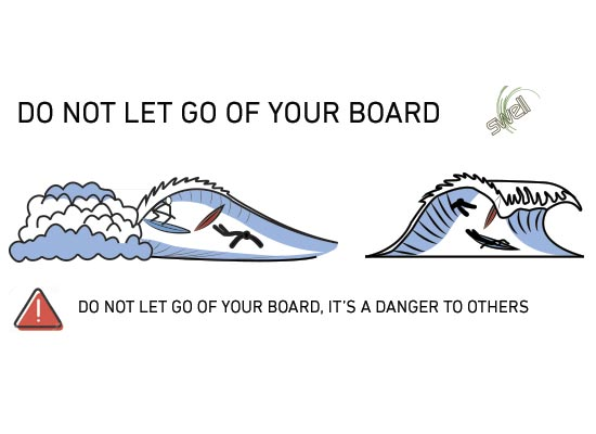 don't let go of surfboard